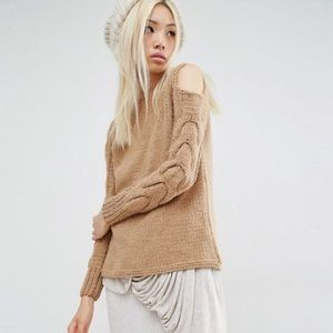 ASOS Oneon Cold Shoulder Camel Cable Sweater